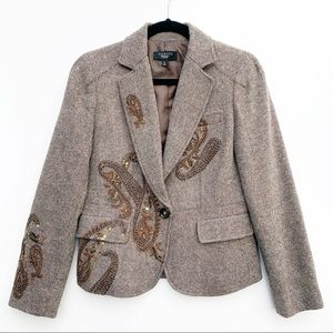 Talbots Beaded Paisley Brown Wool Blazer Size 8P